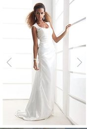 Silk Satin Sheath Wedding Dresses Australia - Sheath Column Scoop Court Train Satin Lace Wedding Dress129