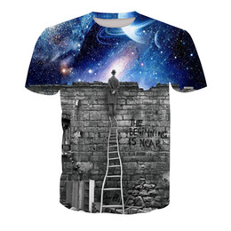 galaxy long sleeve tee UK - Men T-shirt galaxy starry sky 3D Digital Full Printed Man Graphic Tee Shirt Casual Tops Unisex Short Sleeves Tees T-Shirts Blouse (RT-1419)