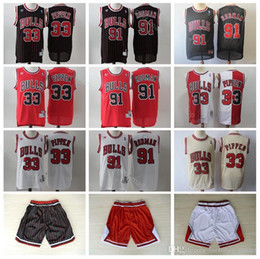 Bulls shorts jersey online shopping - Mens Chicago Bulls Scottie Pippen Basketball Jersey Dennis Rodman Michael Jordan Black White Red Jerseys Shorts Stitched