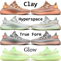 Discount zebra light - 2019 Glow Kanye West Running Sneakers With Box Clay True Form Cream White Black Static Zebra Men Women Designer Shoes Si