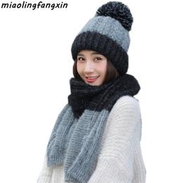 Red bobble hat online shopping - Thicken Pompom Bobble Women Hat Scarf Set Warm Knit Wool Hat Cap Set for Girls Winter Fall Wear