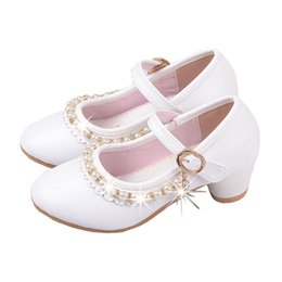 wedding dresses for dancing NZ - New 2018 Pink White Kids Children High Heels Beaded Princess Dance Shoes For Girls Wedding Leather Dress Party School Shoes 59
