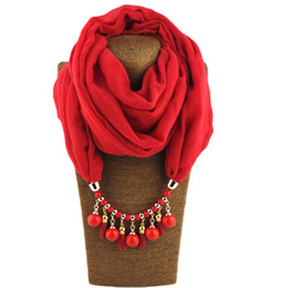 China Design bohemian style scarf necklace for women fashion Jewelry scarf solid color polyester round bead pendant Ring scarf gifts suppliers