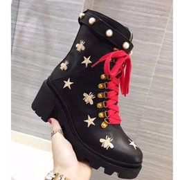Women leather boot rabbit online shopping - Women Genuine Leather Flat Trip Hiking Boots Embroidered Lace up Ankle Boots Stars Bee Lace up Motorcycle Boots Rabbit Hair Pearl Shoes