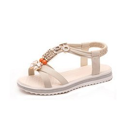 13febcec54936b Fashion Bohemian Women Sandals Summer Ladies Roman Flat Sandals PU Leather  Slip-on Female Outdoor Beach Casual Shoes 1