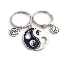 Heart Shaped Handbags Wholesale Australia - Vintage Silver Best Friends Ying Yang Couple Keychain Heart Shape Handcuffs Key Chain For Keys Ca Key Ring Handbag Key Chains
