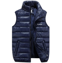 Wholesale mens jacket fall resale online – Fall Winter Plus Sizes Ultra Thin Down Cotton Puffer Vest Jacket Coats Mens Zipper High Neck Gilet s Jacket with Pockets S XL