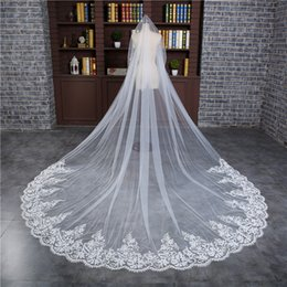 $enCountryForm.capitalKeyWord UK - Romantic 3 M Wedding Veil Cathedral One Layer Lace Appliqued Long Bridal Veils With Comb Woman Marry Gifts 2018 New