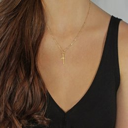 $enCountryForm.capitalKeyWord Australia - Silver Gold Chain Cross Pendant Necklace Small Gold Cross Chokers Necklaces Hip Hop Jewelry For Men Women Gifts Cheap DHL FREE
