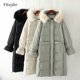 $enCountryForm.capitalKeyWord Australia - Fitaylor 2019 New Winter Long Down Coat Women White Duck Down Parkas Large Real Raccoon Fur Collar Hooded Jackets Overcoat