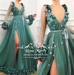 Princess 3D Floral Green Prom Dresses 2019 A Line Long Sleeves Plus Size  High Split Arabic African Girls Pageant Engagement Evening Gowns 4434db1c724a
