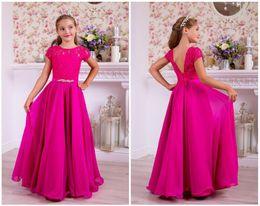 $enCountryForm.capitalKeyWord UK - Rose Red Lace Chiffon Beads Flower Girl Dress Long Summer Girls Brithday Dress Long Rose Red Chiffon Kids Formal Party Dress