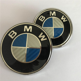 fiber tail Australia - One Set Replacement Carbon Fiber Emblem Badge for BMW Hood, Front 82mm and Rear 74mm