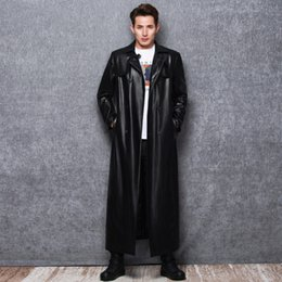 Wholesale mens leather sleeve trench coat resale online - Lautaro Long black leather trench coat men long sleeve double breasted spring autumn plus size pu leather mens clothing xl xl