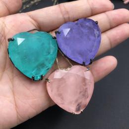 Big Fashion Pendant Australia - Fusion Stone Love Heart Pendant Necklace For Women Fashion Charms Big Size Pendant Necklaces Party Jewelry Elegant Romantic Gift J190529