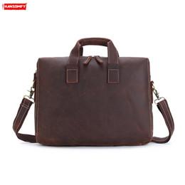 """Genuine Leather Handbag Cowhide Shoulder Bag Australia - Crazy Horse Leather Retro Men's Briefcase business 15"""" Laptop Shoulder messenger Bag Cowhide genuine Leather Official Handbag"""