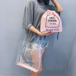 $enCountryForm.capitalKeyWord Australia - Clear Transparent Bag Set PVC Women Drawstring Bags Ladies Large Totes Shoulder Bag Handbags Purse Bolsa Female