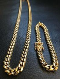 14k Chains Australia - 8mm Mens Cuban Miami Link Bracelet & Chain Set 14k Gold Plated Stainless Steel