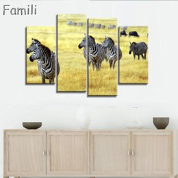 Zebra Print Art Australia - 4panel NO FRAME CANVAS ONLY zebra animal canvas painting wall art pictures for living room home decoration printed on canvas