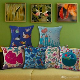 Discount fish cushion pattern - Small Fish Pillowcase Printing Cushion Cover Square Cotton And Linen Pillow Case Sofa Home Decorate Mermaid Pattern 7my