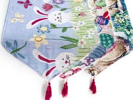 polyester table covers 2019 - Easter Theme Table Runner Rabbit Egg Printed Tablecloth Bunny Rabbit Table Runner Easter Eggs Spring Tablecloth Cover ch