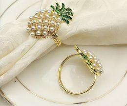 Western Diamond Rings Australia - 20PCS Western Restaurant Hotel Tableware Pearl Pineapple Napkins Bucket Napkin Ring Diamond Napkin Ring Towel Buckle Cloth