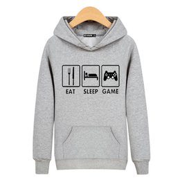 eat game 2019 - New Arrivals 2016 Gamer's Lifestyle Hoodie EAT SLEEP GAME Letter Print Hoodies Unisex Cotton Sweatshirt Hip Hop Bra