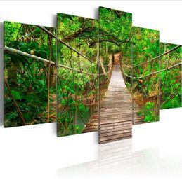 $enCountryForm.capitalKeyWord Australia - ( No Frame)5PCS Set Modern Green Landscape Suspension Bridge Art Print Frameless Canvas Painting Wall Picture Home Decoration
