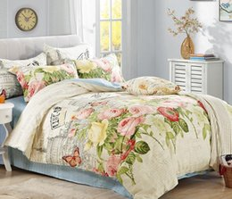 Full Sized Beds Australia - Cotton Vintage Style Bedding Set AB Side Duvet Covet Set Abstract Art Painting Pattern Full Queen Size