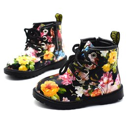 girl flower boots shoes Australia - 2019 Girls Autumn Winter Pu Leather Waterproof Kid Shoes Zip Rome Flower Little Girl Martin Fashion Baby Boots MX190727