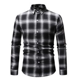 red black plaid mens shirt Canada - White Black Plaid Checked Men Shirt Long Sleeve Slim Fit Mens Dress Shirts Casual Classic Business Casual Camisa Masculina 3XL