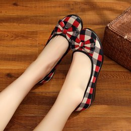 Red Wedges Shoes NZ - Hot sale Women Casual Wedges Lattice Butterfly-knot National Classical Style Shoes for dropshipping