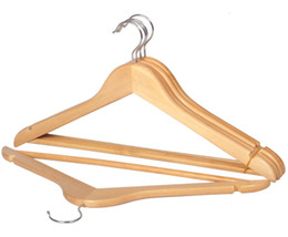 wood suit hangers Australia - 44.5cm Solid Wood Hanger for Adult Clothes Suit Coat Skirts Trousers Hangers with Pants Bar Anti-slip Wooden Racks sandal wood