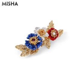 EnamEl flowEr broochEs online shopping - Enamel Pin Simple Beauty Brooch For Women Brooch Blue Red Flowers Enamel Glaze Handmade Jewelry For Ladies Gift L963