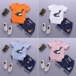 $enCountryForm.capitalKeyWord Australia - 4 colors kids clothes Summer T-shirt + Shorts 2 Piece Sets Short Sleeve Dinosaur T-shirt Denim Shorts kids designer clothes DHL JY138