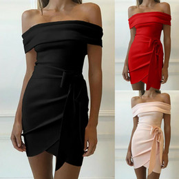 Wholesale off shoulder mini dresses resale online – Sexy Women Bodycon Off Shoulder Short Sleeve Irregular Mini Dress Party Dress