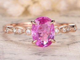 cherry blossom roses Canada - rose gold, Pink Sapphire Diamond ring, cherry blossom pink Gemstone Ring diamond rings for women