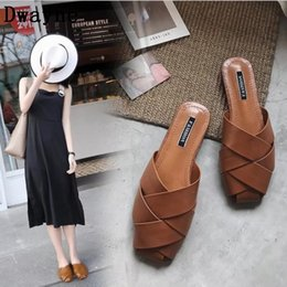 Discount woven rubber - Slippers Women Shoes 2019 Spring Summer Slip On Mules flat shoes women Square head Weaving Half slipper Loafers woman