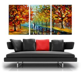 Oil Paint Abstract Forest Hd Australia - Leonid Afremov : Couple Walking on the Forest Road ,3 Pieces Home Decor HD Printed Modern Art Painting on Canvas (Unframed Framed)
