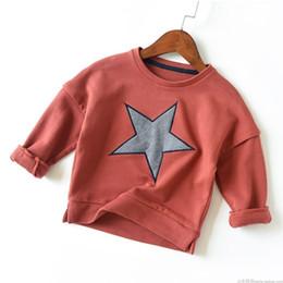 Grils Shirts Australia - Baby Boys Sweatshirt Cotton T Shirt for Grils 3 Colors Autumn Terry Tops Kids Stars Patchwork Tees Shirt Children Outwear 3-7T