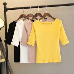 Xxl Knitting Shirt Australia - M-xxl Summer T Shirt Women Top Tee Hal Sleeve T-shirt With Button Decorate High Elastic Knitting Tshirt Femme Harajuku J190614