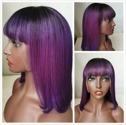 bob hair cut bangs black women Australia - Pre Plucked Hairline 1B Purple Ombre Indian Straight Pixie Cut Short Human Hair Glueless Lacefront Bob Wigs With Bangs For Black Women