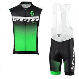 Scott Bike Bibs UK - SCOTT team Cycling Sleeveless jersey Vest bib shorts sets Breathable Quick Dry Polyester bike wear Outdoor sports clothes summer mens Y53083