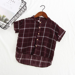 korean short sleeve denim men Australia - Korean-style Childrenswear Men And Women Children 2020 Summer Style Children Plaid Shirt Baby Short Sleeve Shirt Children Tops F