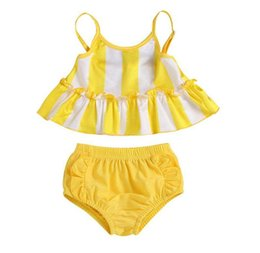 acae8c400e 2019 new Cute Baby Girl Swimwear bikini set yellow striped Girls Swimsuit  Kid Children Swimming Suit