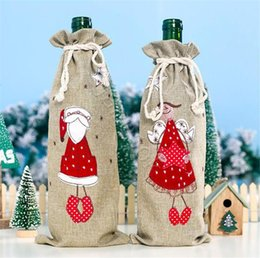 China Home burlap embroidered old man wine bottle cap set Christmas decorations Christmas gift bag Santa bag Christmas decoration DC938 supplier embroidered christmas gifts suppliers