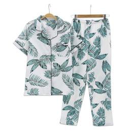 $enCountryForm.capitalKeyWord Australia - Fresh Leaf Pyjamas Women 100% Gauze Cotton Short Sleeve Trousers Korea Pajamas Mujer Homewear Women Sleepwear Y19072001