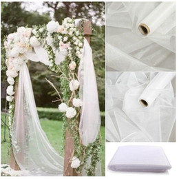 Drapes For Decorations Parties Australia - Cheap!48cm*5meter Sheer Crystal Organza Tulle Roll Fabric For Draping Wedding Ceremony Party Home Decoration New year Decoration