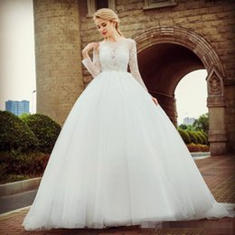 $enCountryForm.capitalKeyWord NZ - 2019 Long Sleeves Ballgown Wedding Dresses Sheer Neck Lace Applique Sweep Train Chic Illusion Covered Buttons Back Wedding Bridal Gown