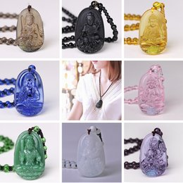 Crystal Carved buddha pendant online shopping - High Quality Unique Natural Carved Crystal Black Obsidian Buddha Lucky Amulet Pendant Necklace For Women Men Pendant Jewelry A